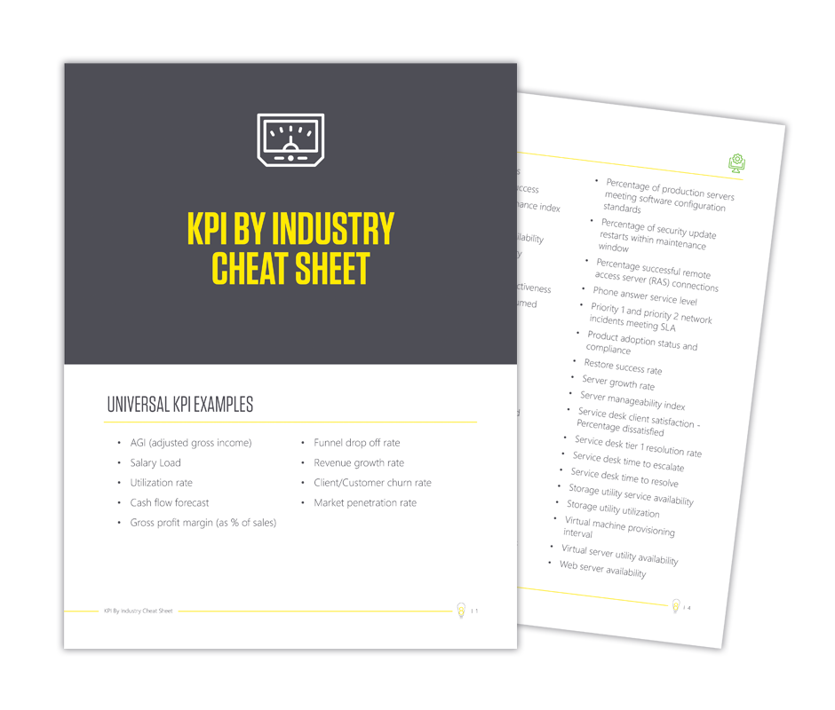 Looking for specific industry KPIs? Illumine8's KPI By Industry Cheat Sheet has all the metrics to watch for the real estate, construction, commercial property management, manufacturing, IT and sales industries in one place.